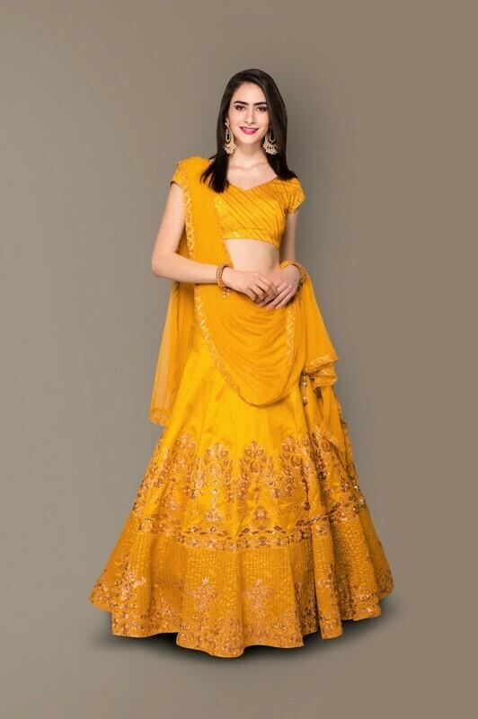 Yellow Color Wedding wear Lehenga Choli