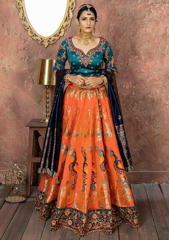 Outstanding Banarasi Silk Wedding Orange Color Lehenga Choli