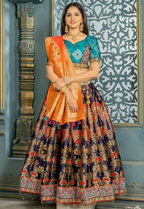 Intricate Banarasi Silk Navy Blue Color Wedding Lehenga Choli