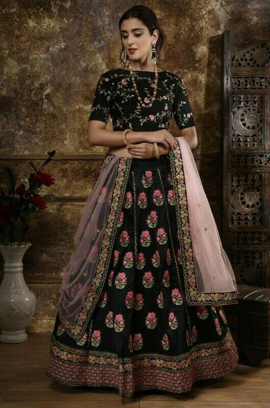 New Black Color Bridal Wear Indian Lehenga Choli With Zari Work