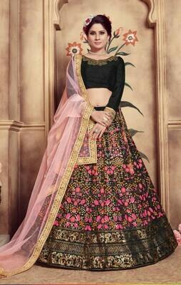 Black Color Heavy Embroidered Wedding Wear Lehenga