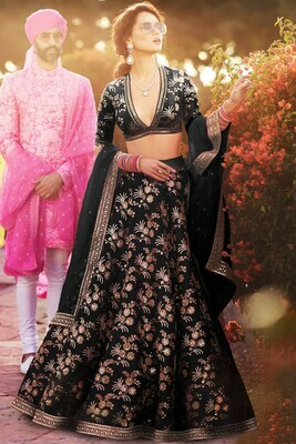 Black Colored Party wear  Lehenga Choli