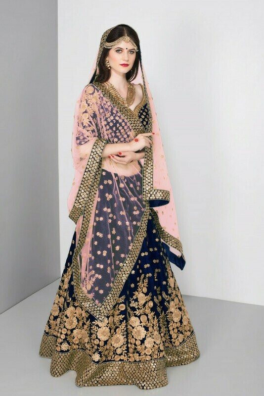 Blue Colored Bridal wear Embroidered Pure Velvet Lehenga Choli