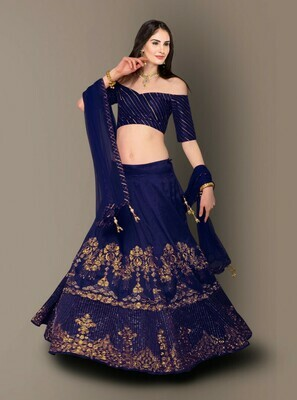 Blue Color Wedding wear Bangalore Silk Lehenga Choli