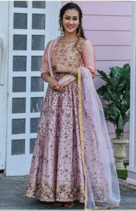 Party Wear Light Pink Color Hesvy Long Gown