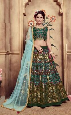 Dark Green Color Bridal Wear Lehenga