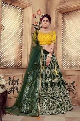 Dark Green Foil Work Heavy Lehenga Choli