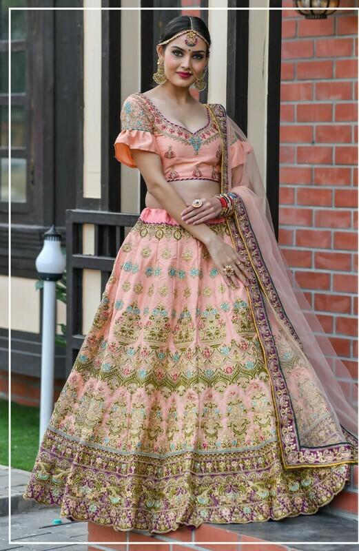 Latest Designer Beautiful PEACH Color Wedding Wear Lehenga Choli