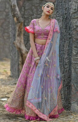 Designer  Light Purple Color Butterfly Net Lehenga Choli