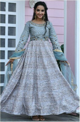 Designer Embroidery Work Glowing Sky Blue Party Wear Gown