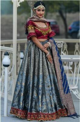 Designer Grey Banarasi Silk Lehenga Choli