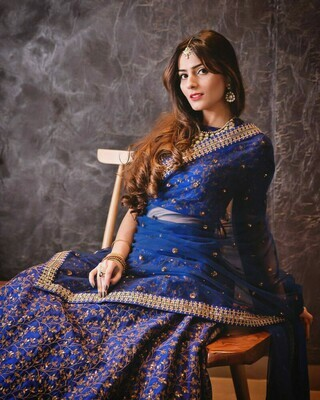 Stylish Royal Blue Color Heavy Embroidery Lehenga Choli