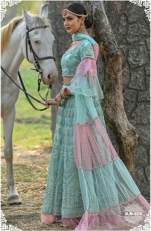 Designer Sky Blue Color Bridal Wear Embroidery Work Lehenga Choli