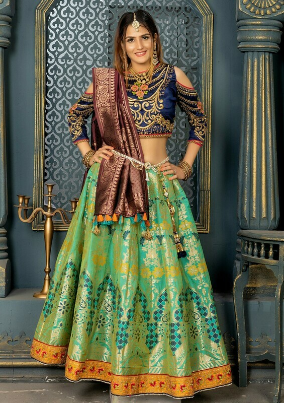 Green Color Wedding Wear Lehenga Choli