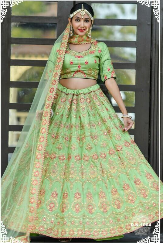 Designer Beautiful Morpich Color Wedding Wear Lehenga Choli