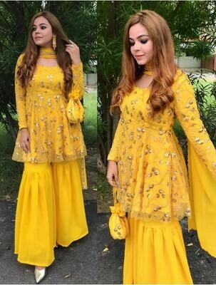 Designer Yellow Sharara Suit