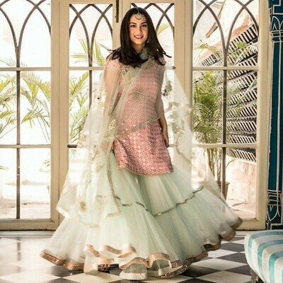 Kurta With Sharara And Beautiful Embroidery Work For Girls And Women