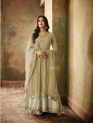 Embroidery Work Golden Color Party Wear Suit