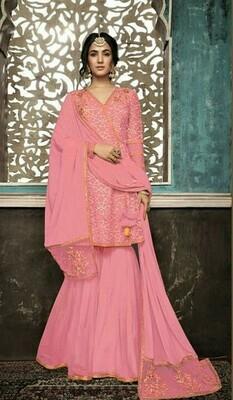Designer Pink Color Sequin Work Sharara Suit