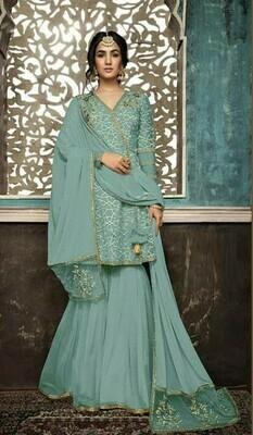 Party Wear Bottle Green Color Designer Sharara Suit