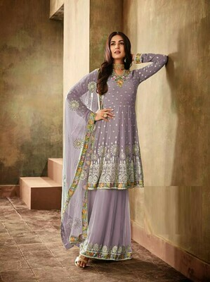 Fancy Embroidery Work Light Purple Color Sharara Suit