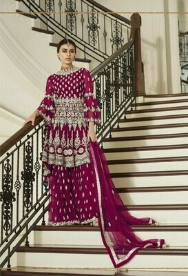 Georgette With Embroidery Purple Color Wedding Salwar Suit