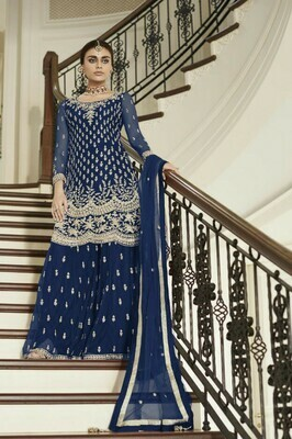 Navy Blue Colored Salwar Plazzo Suit With Embroidery Work