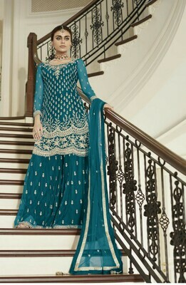 Teal Blue Colored Party Wear Embroidered Heavy Net Palazzo Suit