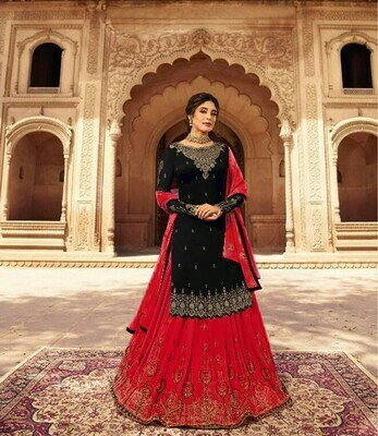 Beautiful  Red And Black Color Lehenga With Top