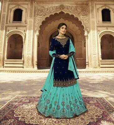 Navy Blue Colored Partywear Lehenga  Suit With Embroidery Work
