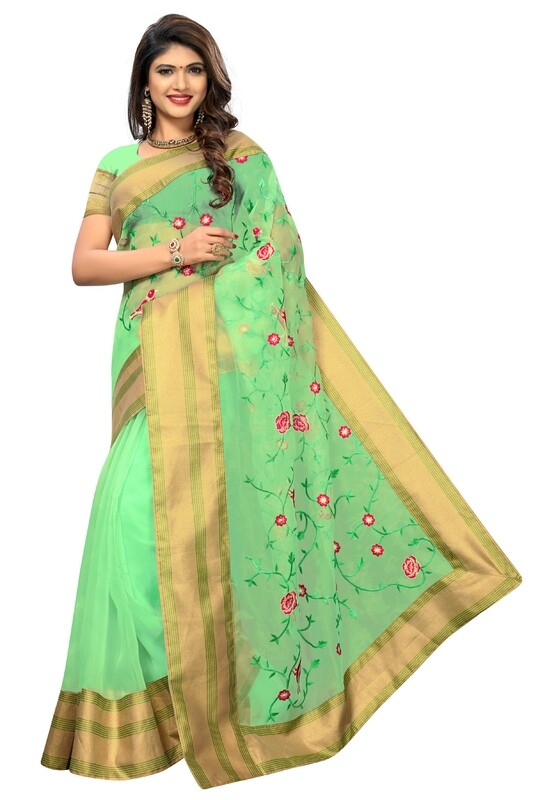 Latest Cyan Green Embroidered Poly Net Saree With Blouse