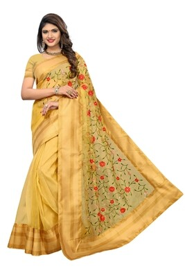 Latest Yellow Embroidered Poly Net Saree With Blouse