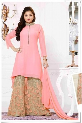Drashti Dhami Beige Salwar Suit With Palazzo