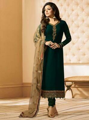 Drashti Dhami Designer Green Color Embroidered Work Straight Salwar Suit