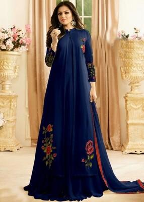Drashti Dhami Designer Faux Georgette Blue Anarkali Suit