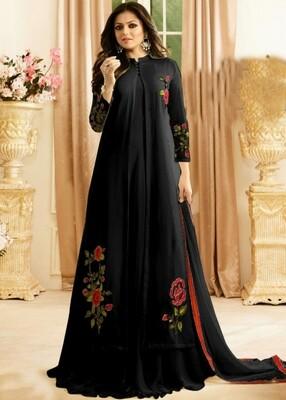 Drashti Dhami Designer Faux Georgette Black Anarkali Suit