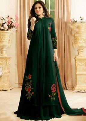 Designer Faux Georgette Green Anarkali Suit