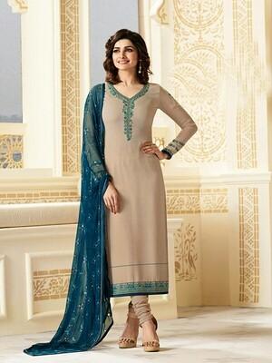 Prachi Desai Designer Cream Color  Georgette Anarkali Suit