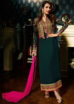 Malaika Arora Embroidered Georgette Straight Suit In Teal Green