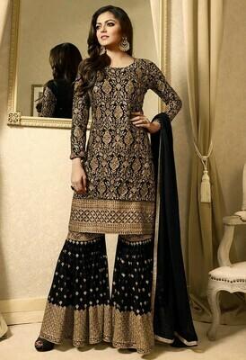 Drashti Dhami Black Georgette Embroidered Top WIth Sharara
