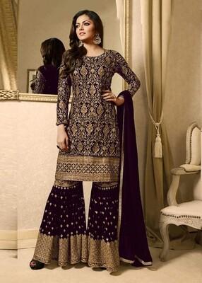 Drashti Dhami Purple Georgette Sharara Style Palazzo Suit