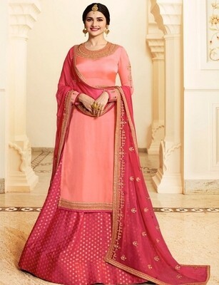 Prachi Desai Satin Georgette Embroidery Work  Anarkali Suit