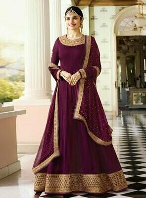 Prachi �Desai Vinay Aux Georgette Purple Embroidered Party Wear Suit