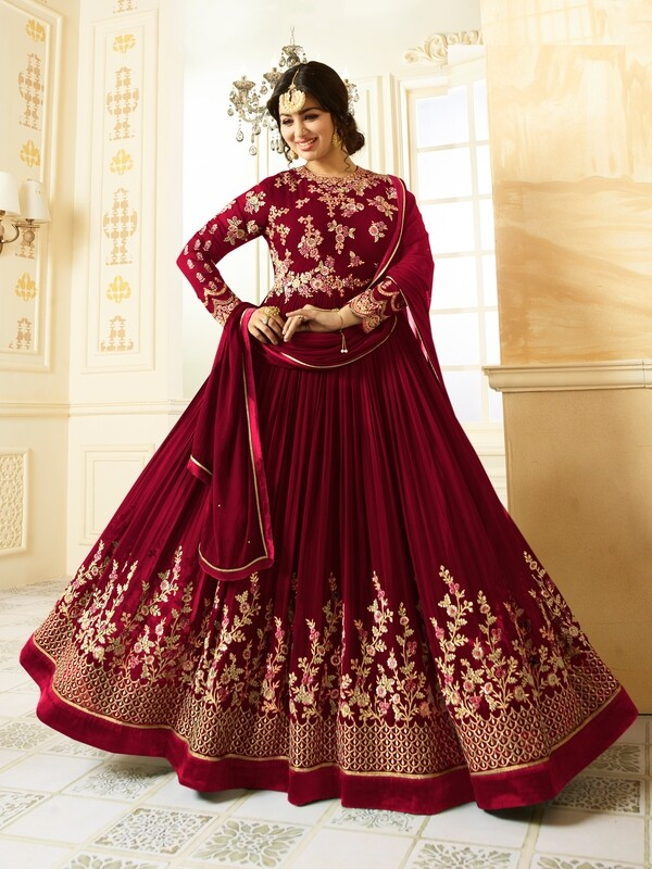 Ayesha Takia Designer Faux Georgette Red Heavy Embroidered Salwar Suit