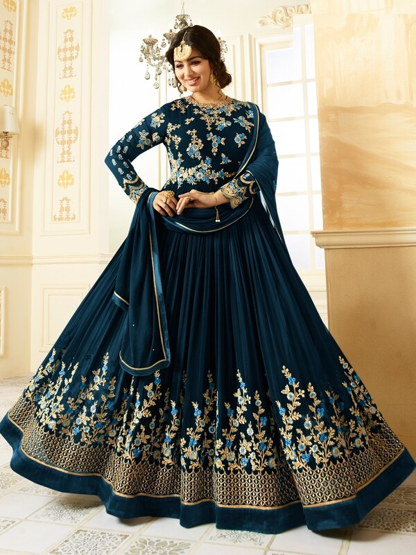Ayesha Takia Designer Faux Georgette Navy Blue Heavy Embroidered Salwar Suit