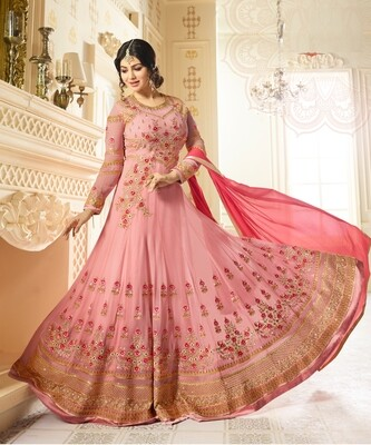 Ayesha TakiaDesigner Faux Georgette Pink Heavy Embroidered Salwar Suit