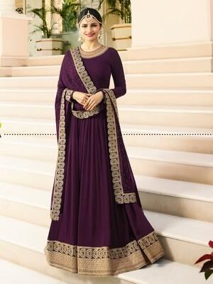 Prachi DesaiDesigner Faux Georgette Purple Heavy Embroidered Salwar Suit