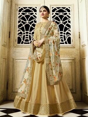 Prachi Desai Designer Faux Georgette Beige Heavy Embroidered Salwar Suit