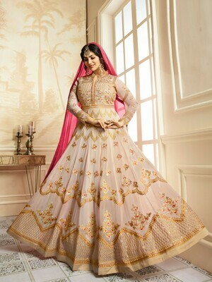 Faux Georgette Beige Heavy Embroidered Salwar Suit