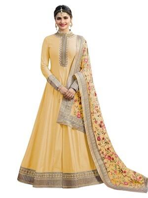 Prachi Desai Yellow Georgette Embroidered Semi Stitched Anarkali Suit